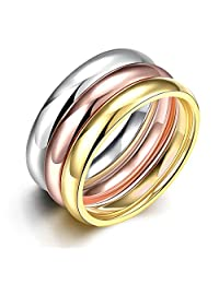 PMTIER Women's Stainless Steel (Silver,Gold,Rose)3 Color Glossy Stacking Ring Set