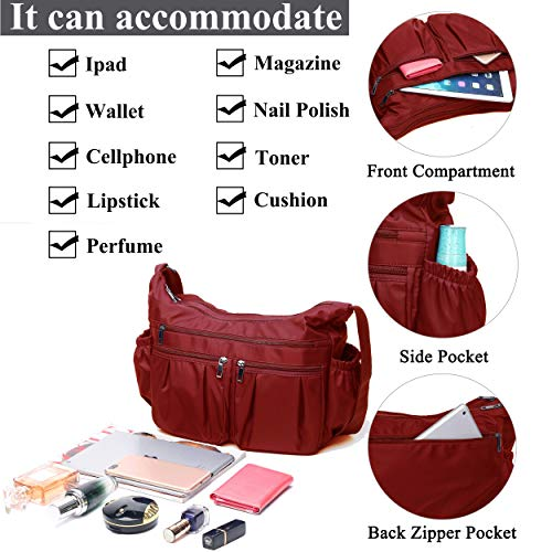 Crossbody Bags for Women, Multi Pocket Shoulder Bag Waterproof Nylon Travel Purses and Handbags (8981_Red-Large) by VOLGANIK ROCK (Image #5)