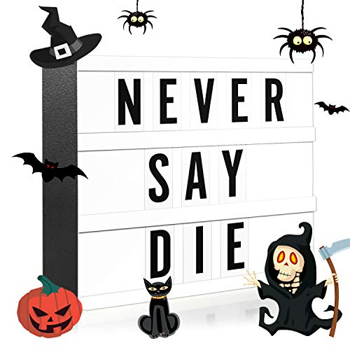 Heidi's Halloween Party (Novelty Place Letter Lightbox - Cinematic LED Marquee Light Box with 80 Black Bold Characters - Letters Numbers Emojis for DIY Birthday Wedding Anniversary Party Mottoes Home Decor - White)