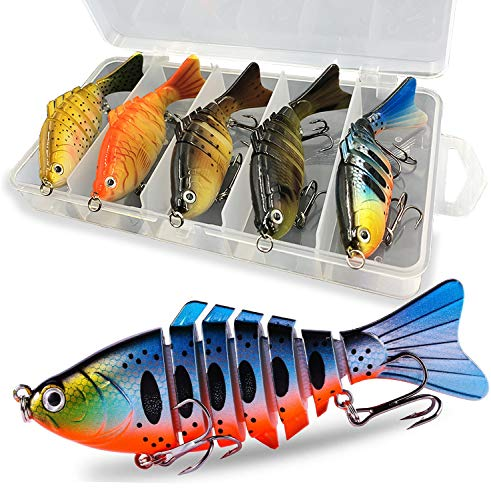 Liraip Fishing Lures for Bass, Trout Segmented Multi Jointed Swimbaits Slow Sinking Bionic Swimming Lures Freshwater Saltwater Bass Fishing Hard Bait Lifelike Kit of 5 Pack