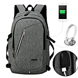 NAWO Business Water Resistant Polyester Laptop Backpack with USB Charging Port & Headphone Jack and Lock Fits Under 17-Inch Laptop and Notebook, Gary