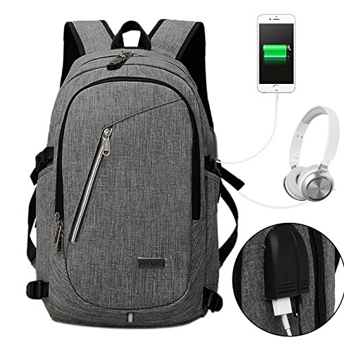 Price comparison product image NAWO Business Water Resistant Polyester Laptop Backpack with USB Charging Port & Headphone Jack and Lock Fits Under 17-Inch Laptop and Notebook,  Gary