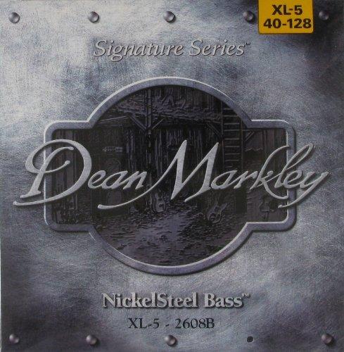 Dean Markley NickelSteel Signature 5-String Bass Guitar Strings, 40-128, 2608B, Extra Light