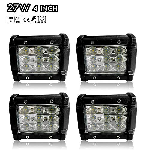 DOT Cube Pods 4Inch Triple Row Offroad Driving Fog Light Flood Beam Backup Front/Rear Bumper Grill Lamp Truck Tractor Golf Cart Boat Motorcycle Jeep Cherokee Xj Commander Wrangler Tj Zj Jku Rubicon