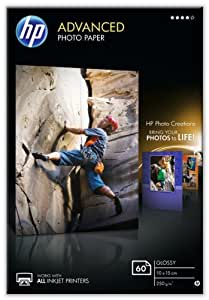 HP Advanced Q8008A - Papel fotográfico satinado (60 hojas, 10 x 15 cm)