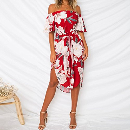 Vestido de verano para mujer, con estampado floral de hombro, estilo casual, venda de bohemia, cintura alta, vestido de gasa para fiesta, cóctel, boda, ...