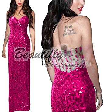 Sexy Hot Pink Strapless Sequins Cocktail Ball Evening Prom