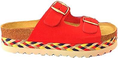Sandalias de Verano de Piel, Plataformas de Mujer con Doble Hebilla Hechas en Cuero, Planta anatómica, Fabricadas en España, Rojo 37: Amazon.es: Zapatos y complementos