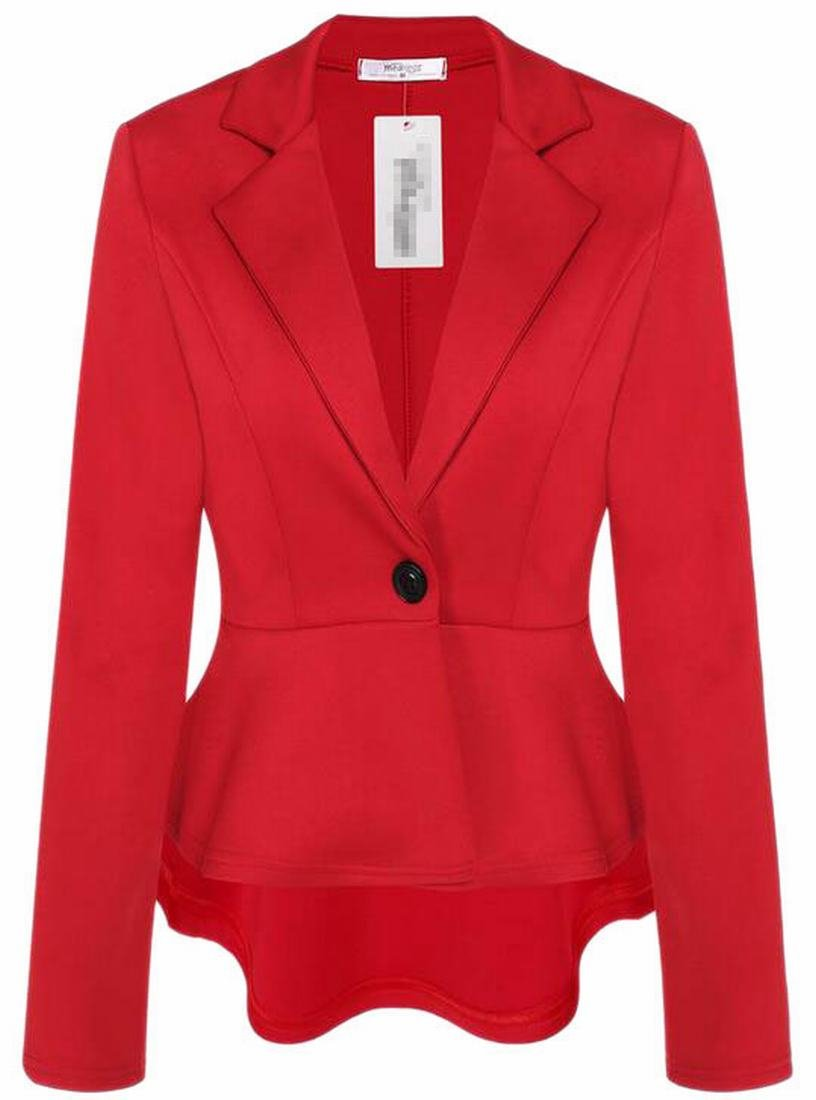 Fly Year-uk Womens One Button Solid Slim Fit Peplum Blazer Jacket Coat