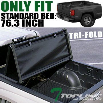Quad Cab Long Bed Standard (Topline Autopart Tri Fold Soft Vinyl Truck Bed Tonneau Cover For 02-08 Dodge Ram 1500 ; 03-09 2500 / 3500 6.5 Feet ( 78