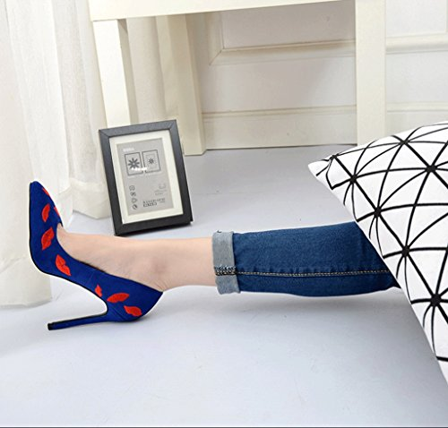 Blue Women Wedding 10cm Sandals Fashion Shoes Pointed Mouth Comfortable Elegant Sexy High 9cm Heels 7cm Shallow FZxYxq0Tw6