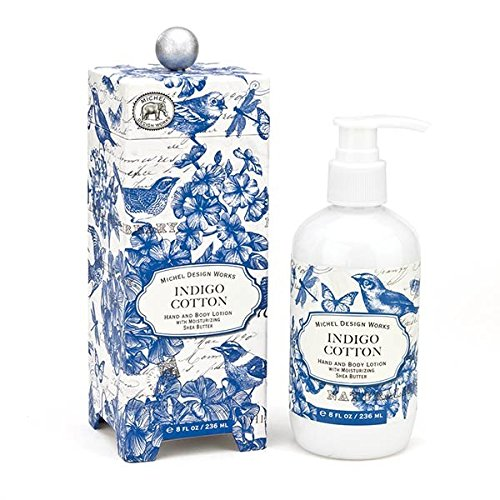 - Michel Design Works Cotton Flower & Fresh Linen Scented Hand & Body Lotion with Shea Butter, Indigo Cotton