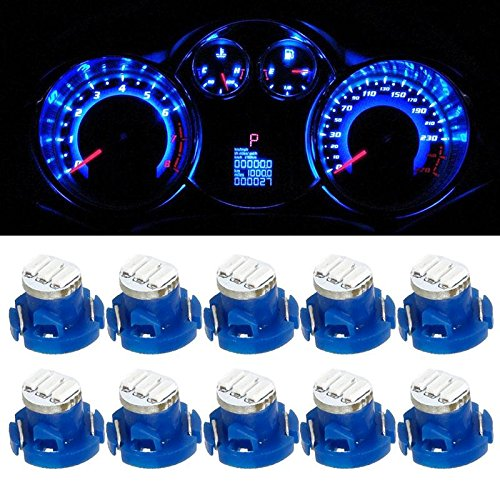 Partsam T4.2 Neo Wedge LED Light Bulb for Gauge Cluster Instrument Panel Dashboard Indicator Lamp-Blue 10PCS
