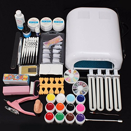 gel & acryl nail set,DANCINGNAILnail art designe set / nagel acryl set / acryl set / NagelStudio Set 36W UV Gel Lampe / nail art designe set / 12 Farben Nailart Spitze DIY