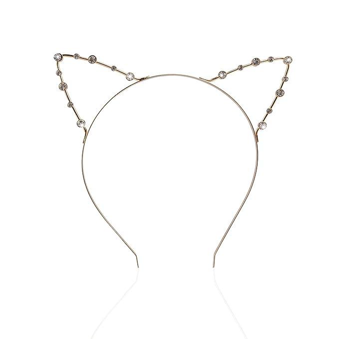 Metal Cat Ear Hair Accessories Lady Punk Rhinestone Cat Ears Headwear Party ST
