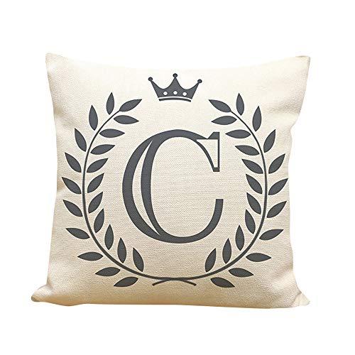 Sunhusing Creative English Letter Combination Printing Polyester Linen Pillowcase