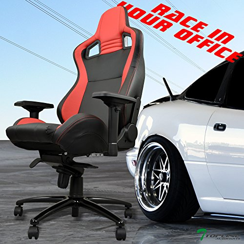 51pdMZSj5pL - Topline-Autopart-BlackRed-With-Stitches-PVC-Leather-Mu-Racing-Style-Bucket-Seat-Office-Home-Chair