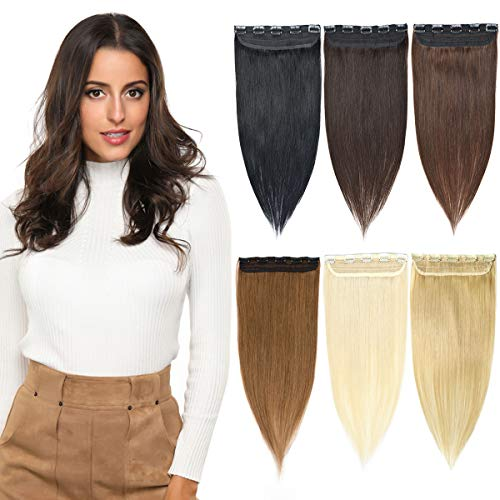 YAMEL Clip in Hair Extensions Human Hair 3/4 Full Head Natural Long Straight Hairpiece 5 Clips for Women 16-22 Inch ()