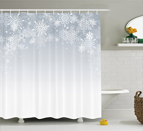(Ambesonne Winter Decorations Shower Curtain, Christmas Back with Snowflake Figures and Fairy Stars Lights Magic Design, Fabric Bathroom Decor Set with Hooks, 70 Inches, Silver)