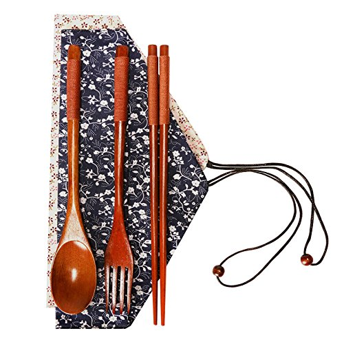 Liangxiang Lunch Tableware Wooden Spoon Fork Chopsticks Three-piece Set Japanese Style (brown) ()