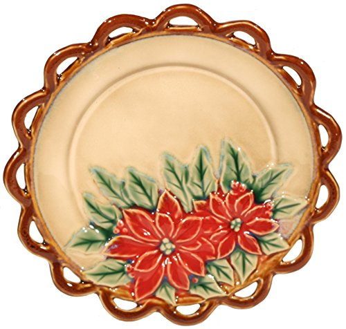 Poinsettia Accent Plate (Set of 2 - 7 inch Poinsettia Christmas Glassware Plates : XC5493)