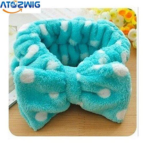 Spa Hair Wrap (ATOZWIG Big Bow Dot Striped Soft Hair Band Head Wrap Headband Bath Spa Headband Make)