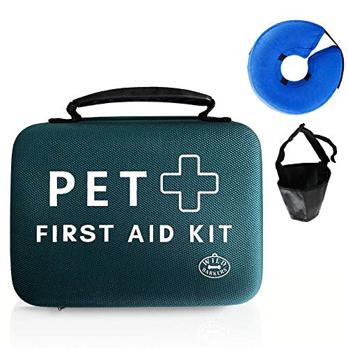 Wild Barkers Dog First Aid Kit with Emergency Supplies Ideal for Travel, Camping, Hiking, The Car, and Office   Hard Case with Bonus Inflatable E-Collar and Soft Muzzle  
