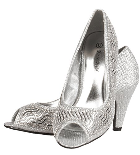 Low With Silvertone JOTW Pump JOTW Womens Stones Womens Heel qHYtpZ