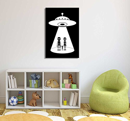 an Alien Family Descending from Their UFO Vehicle Black and White Children's Kids' Room Wall