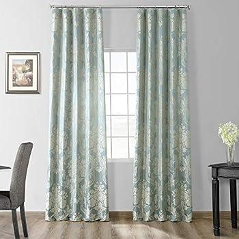 JQCH-20122053-96 Magdelena Faux Silk Jacquard Curtain,Steel Blue & Silver,50 X 96