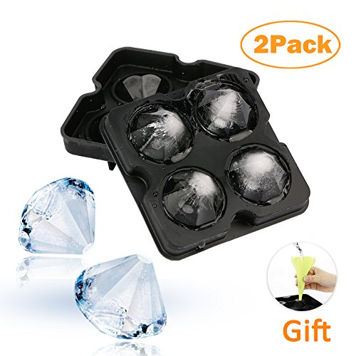 2 Pack Diamond Silicone Ice Cube Trays with Lid, Bella Vino