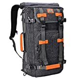 WITZMAN Canvas Backpack Vintage Travel Backpack Hiking Luggage Rucksack Laptop Bags (Black A519, 22 inch)