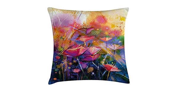 VVIANS Watercolor Flower Home Decor Throw Pillow Cushion ...