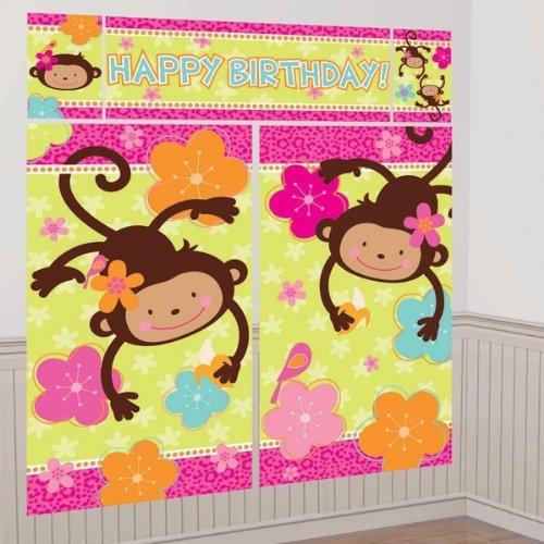 Pink Mod 'Monkey Love' Giant Scene Setter Wall Decorating Kit (5pc) (Pink Decorating Kit)