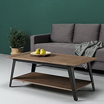 Amazon Com Zinus Woodrow Wood And Metal Coffee Table