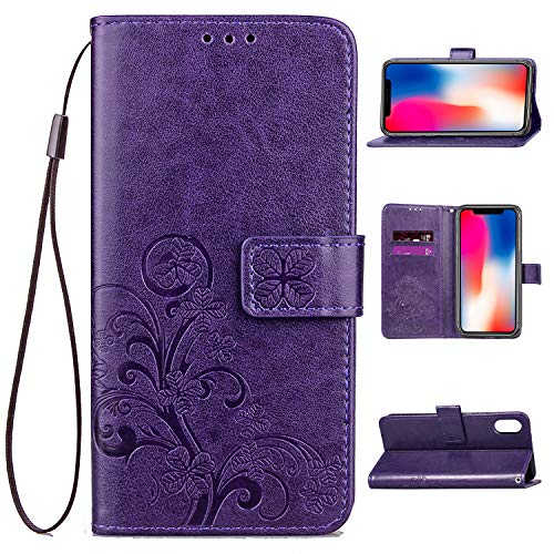 Crosspace iPhone Xs Max Case, iPhone Xs Max Wallet Case Lucky Flowers PU Leather Magnetic Book Stand Protective Cover with Card Slots and Detachable Wrist Lanyard for iPhone Xs Max 6.5-Purple