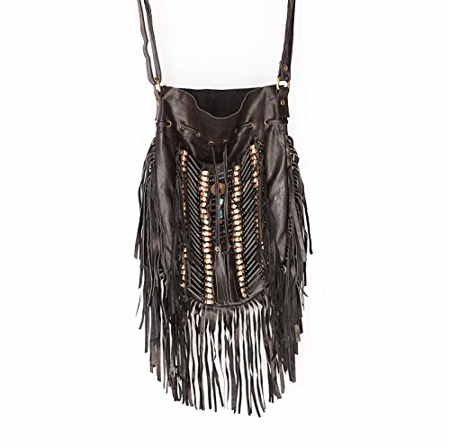 Black Boho Bag | Real Leather | Fringe Purse | Bohemian Bags | Hobo Tote ()