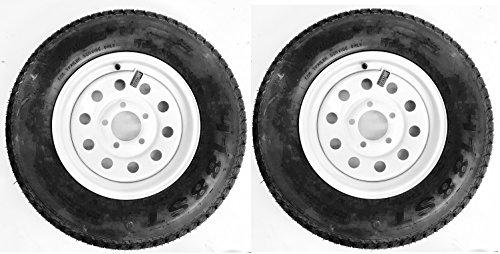 eCustomRim 2-Pack Trailer Tire Rim ST175/80D13 1758013 B78-13 LRC 5 Lug White Modular