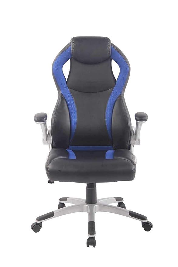 CLP DONINGTON - Silla de Oficina con reposacabezas y tapizado de Piel sintética, Color Negro y Azul: Amazon.es: Juguetes y juegos