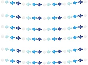 Lauthen.S Blue Fish Garland, 6pcs Fish Dot Circles Paper Garland Decorations for Birthday Backdrop Ocean Themed Baby Shower Party Supplies Classroom Home Decor(Blue)
