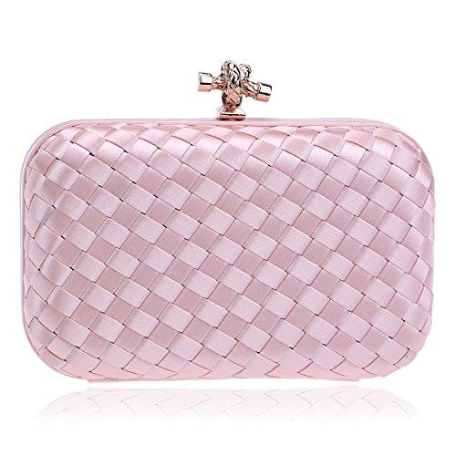 Evening Clutch Handbag Purse Design Evening Rhinestone Wedding Plaid Formal Simplicity Clutch Pink Weave DarkGreen Cocktail Women's Bag 1OqvwAnRx