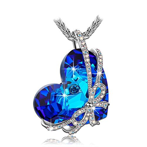 Qianse Women White Gold Plated with Crystal Heart of the Ocean Swarovski - Jewelry
