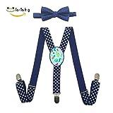 Xiacai Colorful Flamingo Suspender&Bow Tie Set Adjustable Clip-On Y-Suspender Boys