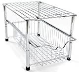 Amtido Stackable Under Sink Cabinet Organiser with Sliding Basket Drawer For Kitchen And Bathroom - Chrome