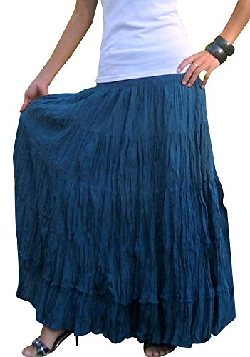 Billy's Thai Shop Women's Long Maxi Pleated Skirt with Elastic Smocked Waist One Size Fits Most. Blue