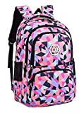 Fanci Geometric Prints Primary School Student Satchel Backpack For Girls Waterproof Preppy Schoolbag