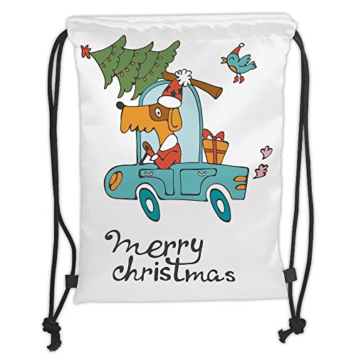 Custom Printed Drawstring Sack Backpacks Bags,Christmas,Blue Vintage Car Dog Driving with Santa Costume Cute Bird Tree and Gift Present,White Multi Soft Satin,5 Liter Capacity,Adjustable String Closur
