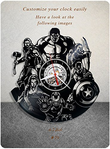 - The Avengers vinyl clock, marvel's the avengers vinyl wall clock, vinyl record clock marvel comics disney iron man captain america thor loki hulk gift home decor 079 - (a2)