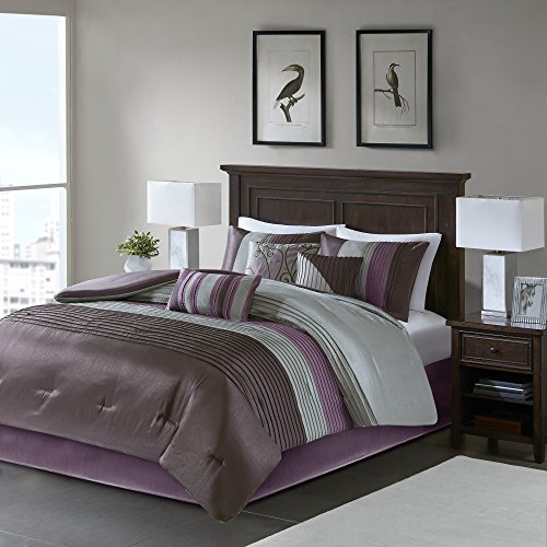 Madison Park Amherst Cal King Size Bed Comforter Set Bed In A Bag - Purple, Grey, Pieced Stripes – 7 Pieces Bedding Sets – Ultra Soft Microfiber Bedroom - King Contemporary Set Bedroom California