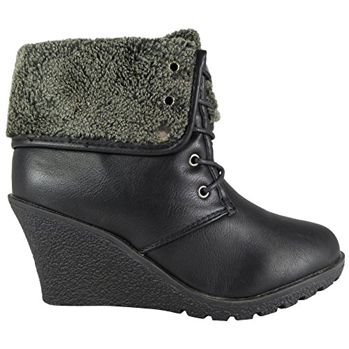 NEW WOMENS LADIES LACE UP FAUX FUR COLLAR WEDGE GRIP SOLE WORK ANKLE BOOTS SHOES SIZES 2-8 Black 8h7smB